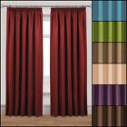 """PAIR OF ALICE WAFFLE LINED CURTAINS 3"""" TAPE TOP PENCIL PLEAT PLAIN DYE CURTAINS"""