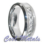 1.4 Carat Tungsten Carbide Princess Cut CZ Men Women Wedding Band Ring Size 7-15