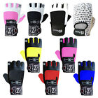 LEATHER WEIGHT LIFTING GLOVES GYM FITNESS TRAINING BODY BUILDING LONG STRAPS