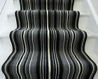 Black Off White Striped Cut to Any Length Per Metre Stair Carpet Hall Runner Rug