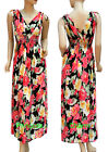 Women Floral Print Summer Maxi Dress Pink Black Yellow Green Size 8-10 10-12