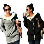 New Stylish Womens Long Zip Hooded Jacket Coat Slim Fit Sweater Top UK Size 6-22