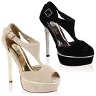 Ladies Faux Suede Cut Out Metallic Womens Stiletto High Heeled Shoes Size 3-8
