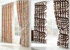 Luxury Heavy Chenille Lined Curtains, Retro Eyelet Curtains, chocolate cream