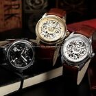 SEWOR Classic Skeleton Mens 3 Colors Mechanical Official Leather Wrist Watch