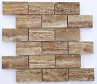 Noce Exotic Travertine VEIN-CUT 2 X 4 Unfilled and Polished Brick Mosaic Tile
