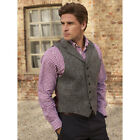 Brook Taverner - Uist Harris Tweed Waistcoat Mens In Black & White Herringbone