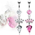 Prong Set Gem Paved Crown Dangle Belly Navel Ring Body Piercing Jewelry