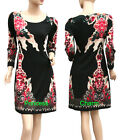 Long Sleeve Shift Day Dress Paisley Print Black Red Beige Size 10 12 14 16 New