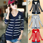 New Womens Long Sleeve Knitted Striped Buttoned Cardigan Coat Jumper Jacket Top