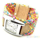 NW Popular Candy Color Ladies Girls Braided Plaited Rope Wrap Stylish Watch BD4U