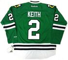 DUNCAN KEITH CHICAGO BLACKHAWKS GREEN ST PATRICKS DAY REEBOK JERSEY