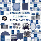 PARISIENNE BLUE Papermania Capsule Collection Full Range Papers + Embellishments
