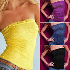 Women Strapless Clubwear Lace Tube Top Bandeau Stretch Ribbed Tank Camisole