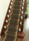 MADE TO MEASURE Cheap Narrow Staircase Carpet Dark Green Pattern Hall Runner Rug