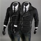 New Fashion Men's INCLINED ZIPPER Coat Casual Cardigan Sweater Jacket Size:XS-XL