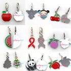 NEW 12pcs Mixed Styles Enamel Charms Clip On Lobster Clasp Pendant Pick