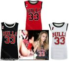 LADIES WOMENS BULLS 33 VARSITY AMERICAN BASKETBALL JERSEY VEST T-SHIRT TANK TOP