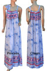 Summer Beach Maxi Dress Bali Kaftan Blue Pink Print Cotton Size 10-14 12-16 New