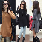 Women Long Sleeve Hem Zipper Pullover T-Shirt Blouse Long Tops Shirt 3 Colors