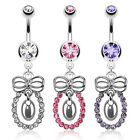 Surgical Steel Multi Paved Hoop with a Bow Dangle Belly Bar /  Navel Ring