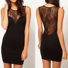Womens See-through Sleeveless Lace Evening Party Bodycon Mini Dress Cocktail