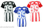 Ladies Stars & Stripes 89 Print T-Shirt Mesh Varsity American Baseball Baggy Top