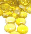 YELLOW Round Glass Pebbles Stones Nuggets Beads Button Lots Quantities NEW
