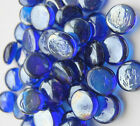 ROYAL BLUE Round Glass Pebbles Stones Nuggets Beads Button Lots Quantities NEW