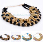 Fashion Golden Chain Black Colorized Crystal Bib Cluster Choker Pendant Necklace