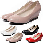 Womens Wedge Low Mid Heel Patent Smart Casual Work Slip Office Court Shoes