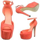 Women's Suede Peep Toe Cutout Stiletto High Heel Platform Pumps Coral Sz 5.5-10