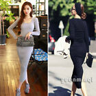Autumn Women Female Long Sleeve Party Pencil Knit Slit Sweater Casual Maxi Dress