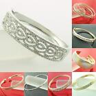 NEW 18CT FILLED LAYERED ROSE YELLOW WHITE GOLD SOLID CUBIC ZIRCONIA BANGLES