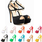 LADIES NEW PEEP TOE STRAPPY PLATFORM FAUX SUEDE HIGH HEELS SANDAL SHOES SIZE 2-9