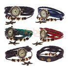 Retro Beads Starfish Weaven Wrap Layer Leather Quartz Bracelet Wristwatch Gift