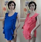 NWOT genuine PLANET MOTHERHOOD sleeveless blue or coral ruffle front top,size M