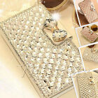 BLING DIAMOND SILK PULEATHER WALLET STAND CASE COVER FOR SAMSUNG GALAXY S4 I9500