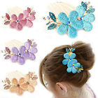 GIRLS SWEET RHINESTONE FLOWER HAIR COMB BARRETTE CRYSTAL HAIRPIN HAIR CLIP BD2K