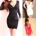 BF00 Women Sexy Long Sleeve Evening Party Cocktail Ball Lace Mini Dress Clubwear