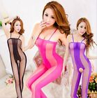 women Sexy Lingerie sheer opaque Open crotch Body stocking tights teddy LY283