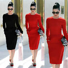 Fashion Office Ladies Long Sleeve Knee Length Comfy Bodycon Wiggle Pencil Dress