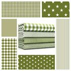 STARS - MOSS GREEN and WHITE COTTON FABRIC by the metre EX WIDE NURSERY BOYS