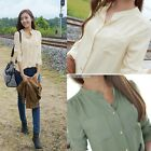 Women Casual Long Sleeve Chiffon T Shirt Stand-up Collar Loose Tops Blouse 2014