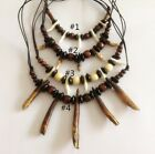 New 1X Wolf Tooth Black White Bone Wooden Beads Amulet Pendant Necklace 4 Styles