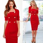 Women's Pinup Party Elegant Lapel Tunic Cocktail Bodycon Sheath Midi Dress D753
