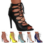 Womens New PU Peep Toe Lace Up Evening Sandals Ankle Boot Shoes Size 4-9