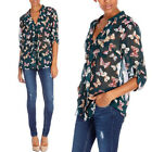 Womens Chiffon Shirt V-Neck Floral Butterfly Printed  Loose Tee Top Bouse S-XXL
