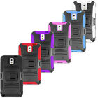 For Galaxy Note 3 Hybrid Silicone Rubber Cover Case w Kickstand Holster
