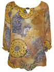 Yellow Tunic Top Size 14 Tan Chiffon Patterned Blouse by Sunny Leigh RRP $69